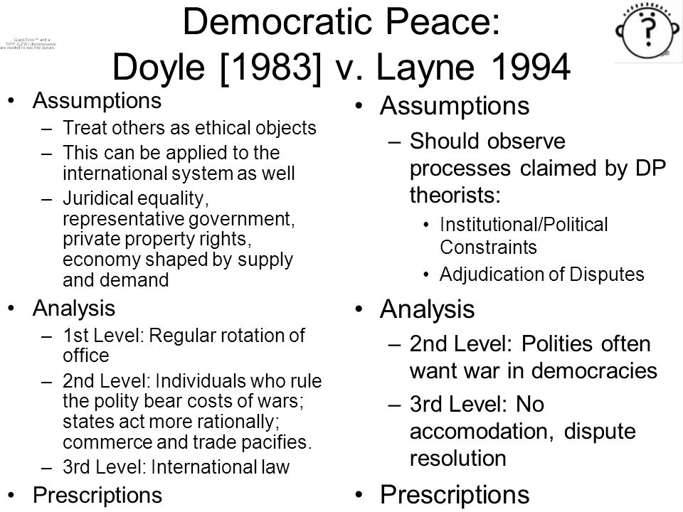 """democratic peace thesis doyle Doyle as a proponent of democracy used kant's logic as a basis for his argument of the democratic peace proposition however, the criteria he specified for ' perpetual peace' differs from kant's in two out of the three elements doyle retains """"republican representation""""(doyle 2005) from kant's original thesis."""